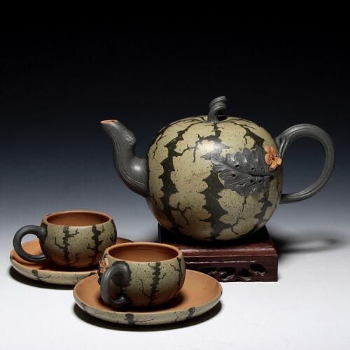 OldZiSha-China Yixing Zisha Pottery A Set Watermelon Teapot By Master JiangRong