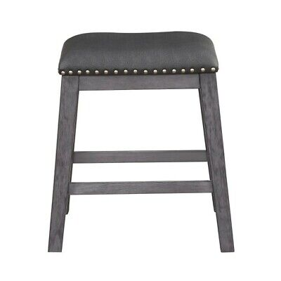 Set of 2 Homelegance Timbre Counter Height Saddle Stool, Gray