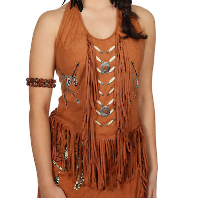 Indianerkostüm Oberteil Westerntop mit Fransen Einheitsgröße, Karneval Kostüm ()