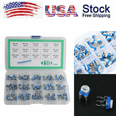 150pcs 15 Value Potentiometer Trimpot Variable Resistor Assortment100ohm-1mohm