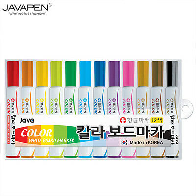 JAVA White Board Antibacterial Marker Pen 12 Colors 1 Dozen set