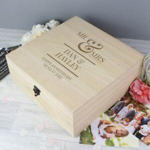 PERSONALISED Large Wooden Mr & and Mrs Wedding Keepsake Memories Box - Gift