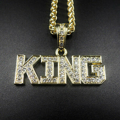 14K Gold King Iced Out Hip Hop Pendant 24  Rope Chain Necklace Crown Royalty
