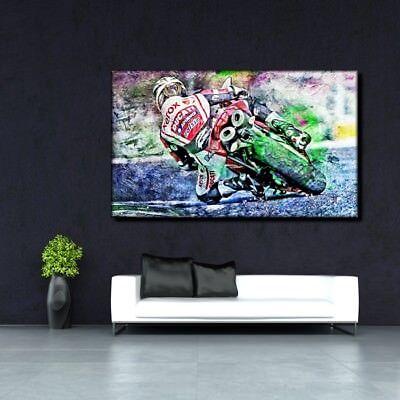LEINWAND BILD ER XXL POP ART DUCATI 1098 MOTORRAD ABSTRAKT BUNT ROT WAND POSTER