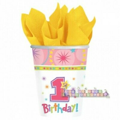1st BIRTHDAY One-Derful GIRL 9oz PAPER CUPS (8) ~ First Party Supplies Drinking