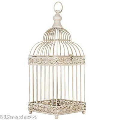 WHITE METAL BIRD CAGE WEDDING DECOR CANDLE HOLDER FLORAL ARRANGEMENT