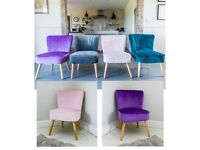 new velvet oyster chairs in navy pink purple teal or grey priced individually