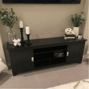 Black Wood Tv Stand/Media Unit