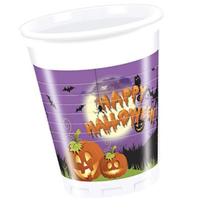 8 x Becher Happy Halloween mit Kürbisköpfen für tolle Grusel Partys, je 200 ml ()