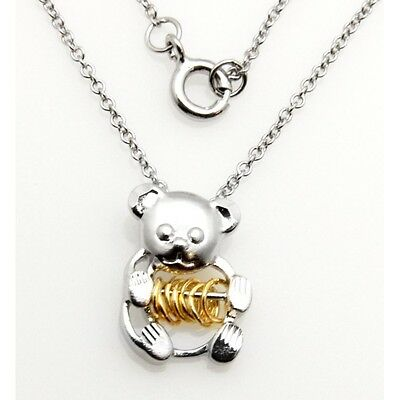 Wish Rings Sterling Silver Teddy Bear Pendant Necklace ()