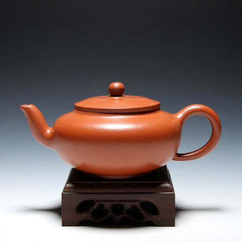 "OldZiSha-Attractive China Yixing ZiSha Small 200cc Used ZhuNi ""Flat"" Teapot"