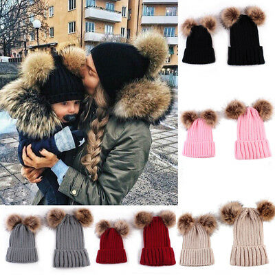 Mom&Baby Newborn Boy Girl Hats Knit Winter Warm Fur Pom Bobble Beanie Cap Womens