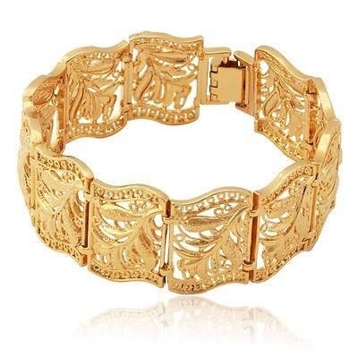 (Vintage Flower Leaf Statement Bracelet 18K Gold Plated Chunky Cuff Bangle Gift)
