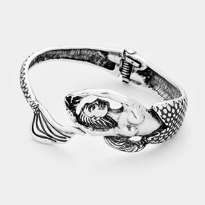 Mermaid Bracelet Hinge Bangle Wrap Around Sea Life Tail Burnished Silver Beach
