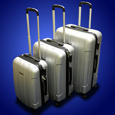 New DeBox 3PCS Luggage Travel Set Bag 3 PCS ABS Trolley Suitcase w/ Lock Silver