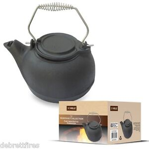 "De Vielle HERITAGE Black Cast Iron 10"" Kettle HUMIDIFIER Stove Wood Fire Steam | eBay"