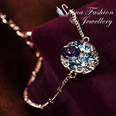 Amethyst Rose Gold Bracelet - 18K Rose Gold GP Made With Swarovski Crystal Exquisite Round Amethyst Bracelet
