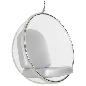 Eero Aarnio hanging Bubble Chair With Silver PU leather Cushion #3022
