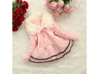 Childrens Faux Fleece Lace Thicken Jacket
