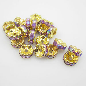 NEW-for-jewelry-100pcs-Size-8MM-Plated-Golden-crystal-spacer-beads-purple-AB