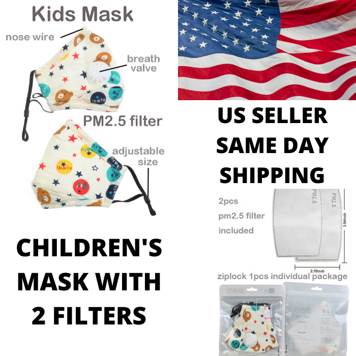 Kids Face Mask Children 5 Layer Filter PM2.5 Anti-pollution Activated Carbon Accessories