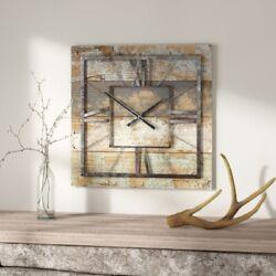 Large Wall Clock Rustic Modern Home Decor Metal Wood Distressed Farmhouse New