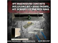 4ft Magnesium Concrete Bullfloat Kit + Edge Trowel, 6ft Screed + 2 Concrete Rake