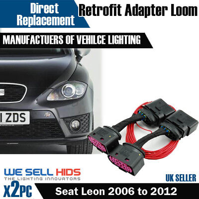 Seat Leon 1p Halogen to Bi Xenon HID Headlight Adapter DRL Wiring Loom Harness