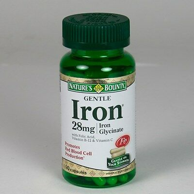 90 Gentle Iron 28mg Glycinate Nature's Bounty Mineral