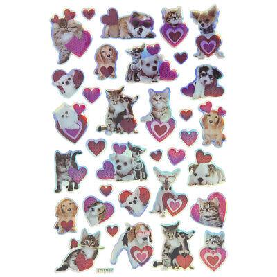 Valentine Day Crafts (Foil Pet Dog Cat Animals Hearts Valentine's Day Stickers Planner DIY Cards)