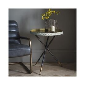 Brand New Gallery Epsom Tripod Tray Table in Black and Gold