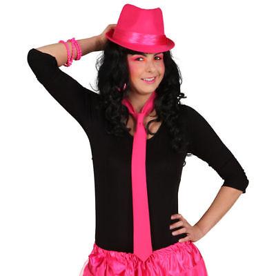 Krawatte Neon Pink Kostümzubehör 80er Kostüm Rosa Schlips Fliege Verkleidung