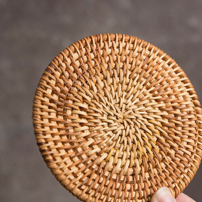 6pcs Vintage Rattan Coasters With Basket Handmade Woven Drink Mats Placemats