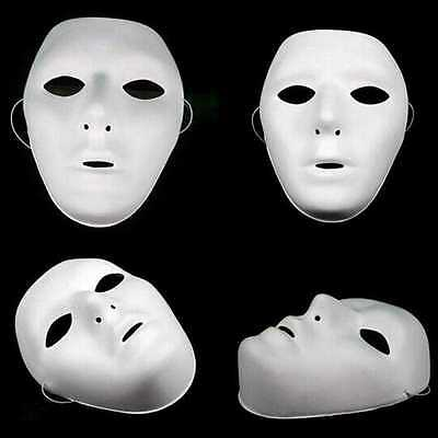 2 x PLAIN WHITE MATT PLASTIC FACE MASK PAINTABLE HALLOWEEN MICHAEL MYERS QR15