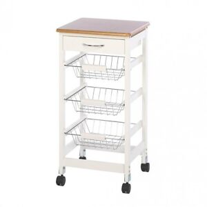 Kitchen Island Cart Side Table Trolley Storage Baskets Wood Drawer Rolling White