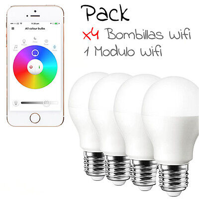 Bombilla LED COLOR Wifi RGB 6W controla desde el movil - modulo wifi - mando
