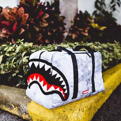 Brand New SPRAYGROUND Chenille White Marble Shark Duffel Bag