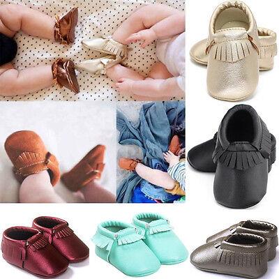 Newborn Toddler Baby Infant Boy Girl Tassel Soft Leather Sho