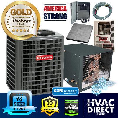 "3 Ton 14 SEER Goodman AC + 21"" Horizontal Coil System, Line Flush Install Kit"