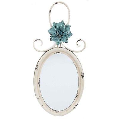 Distressed Shabby Chic Cream Metal Insane Mirror w/ Blue Flower Vintage Style
