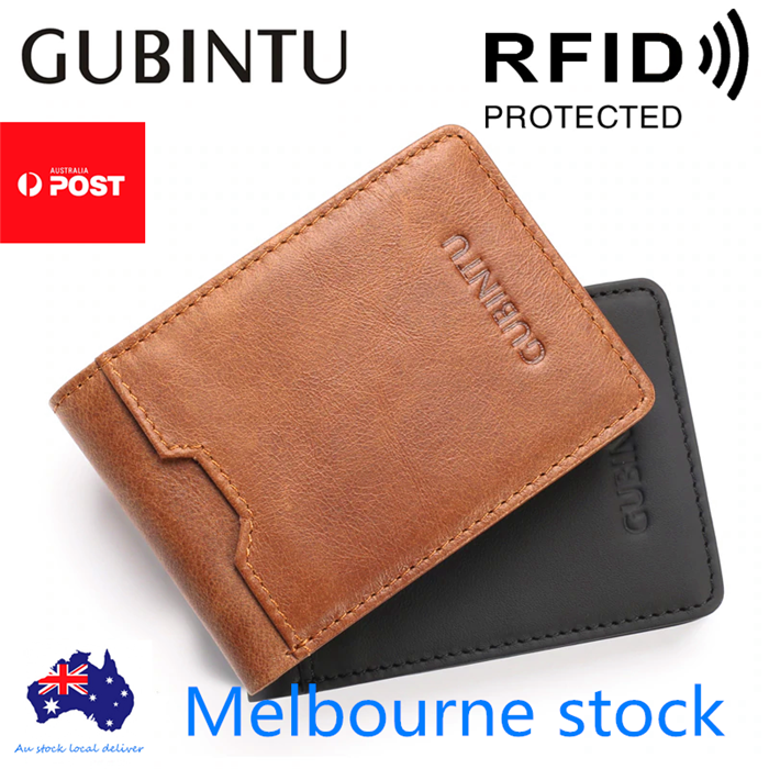 Bifold Credit Card Holder Genuine Leather Wallet Slim Mens RFID
