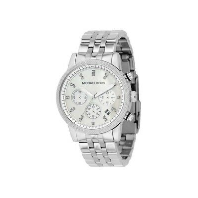 New Michael Kors Ritz Silver Chronograph Women's Stainless S