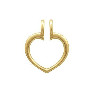 NEW 14k YELLOW GOLD HEART RING KEEPER CHARM HOLDER PENDANT