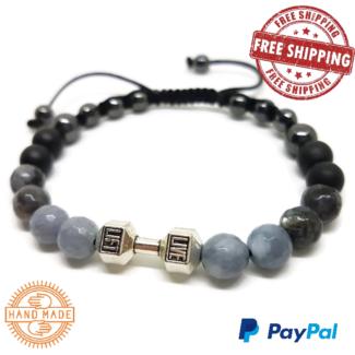Dumbbell, Black Agate, Labradorite & Aquamarine Men's Bracelet