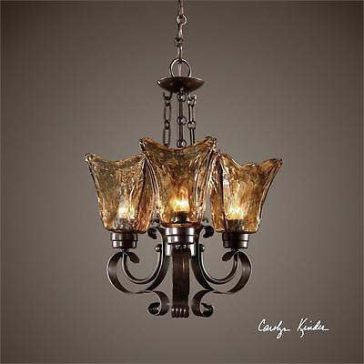 - Amber Tulip Chandelier 20 Pendant 3 Light Oil Rubbed Bronze Iron Glass Petite