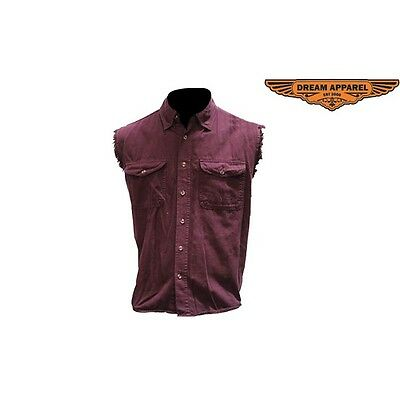 Mens Motorcycle Burgundy Denim Shirt with Front Button Closure & 2 Pockets NEW