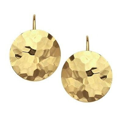 NEW 14K YELLOW GOLD HAMMERED DISC CIRCLE KIDNEY EAR WIRE EARRINGS Disc Kidney Wire Earrings