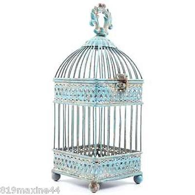 Gorgeous Antique Style Blue Iron Bird Cage Urban farmhouse Decor!