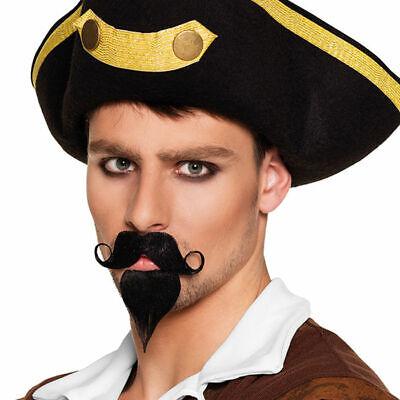 Bart Pirat Schnauzer und Kinnbart, Fakebart Kostümbart schwarz Karnevalszubehör