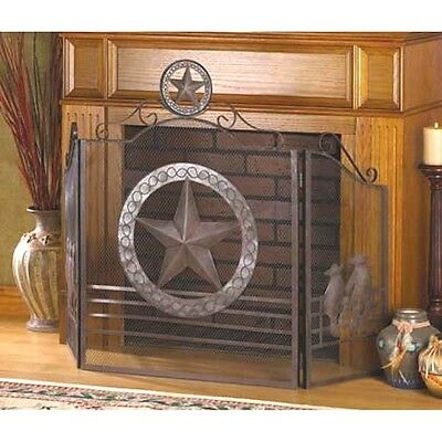 Wrought Iron Decorative Lone Star Fireplace Screen